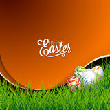 Vector Easter holiday Illustration with painted eggs on grass background. Stock Image