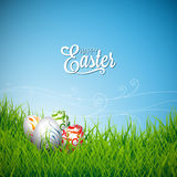 Vector Easter holiday Illustration with painted eggs on grass background. Royalty Free Stock Photos