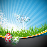 Vector Easter holiday Illustration with painted eggs on spring background. Royalty Free Stock Photography