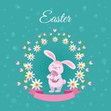 Vector easter poster with rabbit with eggs flowers. Vector easter holiday poster background template with spring festive elements - pink rabbit holding decorated Stock Images