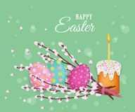 Vector easter poster with eggs, pussy-willow, cake. Vector easter holiday poster, banner background template with spring festive elements - decorated eggs Royalty Free Stock Photography