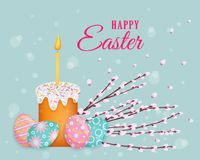 Vector easter poster with eggs, pussy-willow, cake. Vector easter holiday poster, banner background template with spring festive elements - decorated eggs Royalty Free Stock Image