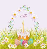 Vector easter poster with eggs, flowers, cake. Vector easter holiday poster, banner background template with spring festive elements - decorated eggs, easter Royalty Free Stock Images
