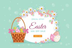 Vector easter poster with eggs basket, flowers. Vector easter holiday poster, banner background template with spring festive elements - decorated eggs in wicker Royalty Free Stock Photo