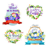 Vector Easter icons and paschal symbols Stock Photo