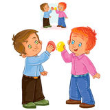 Vector Easter illustration of two small boys and a traditional egg fight. Royalty Free Stock Photo