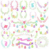 Vector Easter Laurels, Wreaths and Floral Decorations. For Spring Stock Image