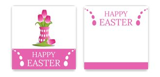 Vector Easter Party Invitations and Greeting Cards with pink tulips. Bouquet of yellow tulips. Easter card. Vector illustration. vector illustration