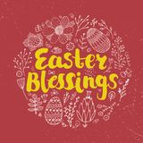Vector Easter poster, card, banner. Brushpen lettering with hand drawn flower and easter eggs doodles Stock Photography