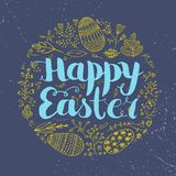 Vector Easter poster, card, banner. Brushpen lettering with hand drawn flower and easter eggs doodles Stock Images