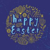 Vector Easter poster, card, banner. Brushpen lettering with hand drawn flower and easter eggs doodles Stock Photos