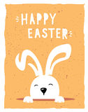 Vector easter poster. With cute banny and text Royalty Free Stock Photo