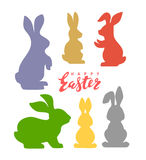 Vector easter poster. With cute banny and text Stock Photos