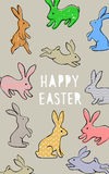 Vector easter poster. With cute banny and text Stock Photography