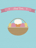 Vector Easter poster.Easter basket with eggs and Easter cake. Royalty Free Stock Images
