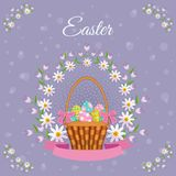 Vector easter poster with eggs basket, flowers. Vector easter holiday poster, banner background template with spring festive elements - decorated eggs in wicker Royalty Free Stock Images