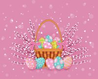 Vector easter poster with eggs basket pussy-willow. Vector easter holiday poster, banner background template with spring festive elements - decorated eggs in Royalty Free Stock Images