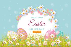 Vector easter poster with eggs, flowers, grass. Vector easter holiday poster, banner background template with spring festive elements - decorated eggs at green Stock Photos