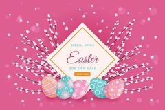 Vector easter poster with eggs, pussy willow. Vector easter holiday poster, banner background template with spring festive elements - decorated eggs, easter Stock Photo