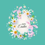 Vector easter poster with rabbit with eggs flowers. Vector easter holiday poster, banner background template with spring festive elements - pink rabbit holding Royalty Free Stock Photos