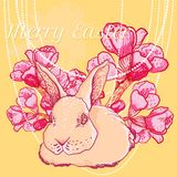 Vector Easter rabbit with spring cherry branch Royalty Free Stock Images