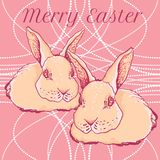 Vector Easter rabbit with spring cherry branch Royalty Free Stock Image