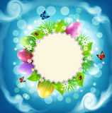 Vector for Easter with a round card for text, eggs, grass and fl Royalty Free Stock Photography