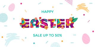 Vector Easter sale banner of paper cut text lettering with spring cherry and tulip flowers. Papercut Easter poster with modern col. Ored egg and bunny pattern on Stock Image