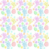 Vector Easter seamless background with Rabbits. Seamless background with cartoon funny happy blue, pink and yellow rabbit smiles broadly, showing thumbs up sign Stock Images