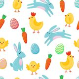Vector Easter seamless pattern background with cute paper cut colored ornate eggs, cartoon chick and chiken, Easter banny, rabbit. Isolated on white background Royalty Free Stock Photo