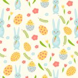 Vector Easter seamless pattern with eggs, birds, bunnies and stylized flowers. Endless texture for spring design vector illustration