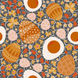 Vector Easter seamless pattern orange, red on a gray background Royalty Free Stock Photos