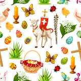 Vector Easter seamless pattern paschal symbols Stock Photo