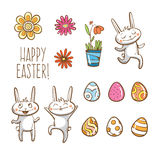 Vector Easter set. Easter rabbits, eggs and flowers Royalty Free Stock Image