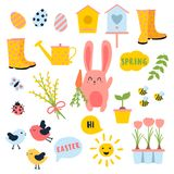 Vector Easter spring set. Bunny, eggs, sun, tulip. Vector Easter and spring set with cute bunnie with carrot, birds, chicken, eggs, flowers, birdhouses. Ladybug Royalty Free Stock Photos