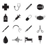 Medical Icons Black. Vector Easy-To-Use 16 Black Medical Flat Icons Isolated On White Background Categorized Into Four Groups, Check up, Pharmaceutical, Surgery vector illustration