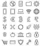 Fintech Line Icons On White Background. Vector Easy-To-Use 30 Fintech Line Icons Including Multiple Currencies On White Background Involving In Financial Stock Photography