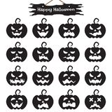Happy Halloween - Black Pumpkin. Vector Easy-To-Use 16 Flat Emoticons Of Black Pumpkin As Silhouette Different Facial Expressions On White Background With Happy Royalty Free Stock Images