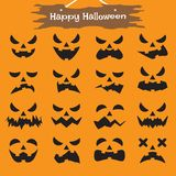 Happy Halloween - Ghost Expressions. Vector Easy-To-Use 16 Flat Emoticons Of Ghost Facial Expressions As Black Eye, Nose, Mouth On Orange Background With  Happy Royalty Free Stock Photos