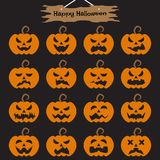 Happy Halloween - Pumpkins. Vector Easy-To-Use 16 Flat Emoticons Of Pumpkin As Different Facial Expressions On Black Background With Happy Halloween Plank Hung Stock Photography