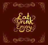 Vector Eat Drink Enjoy Lettering, Golden Calligraphic Letters Shining on Dark Red Background, Gold Foil. vector illustration