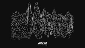 Vector echo audio wavefrom spectrum. Abstract music waves oscillation graph. Futuristic sound wave visualization. Black. And white line impulse pattern vector illustration