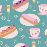 Vector of eclair pastry, champagne, and teacups on a green background. Seamless Pattern. royalty free illustration