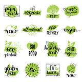 Vector eco, органические, био логотипы или знаки Vegan, здоровые значки еды, бирки установил для кафа, ресторанов, продуктов упак бесплатная иллюстрация