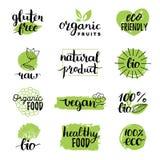 Vector eco, органические, био логотипы или знаки Vegan, здоровые значки еды, бирки установил для кафа, ресторанов, продуктов упак иллюстрация штока