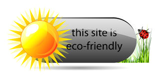 Vector eco button with green grass, sun and ladybu Stock Photos