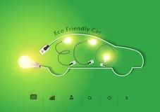 Vector eco freundliches Auto mit kreativen Glühlampeideen Stockfoto