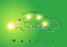 Vector eco friendly car with creative light bulb ideas Stock Photo