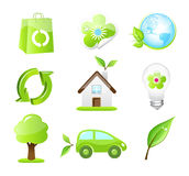 Vector eco friendly icons. Collection of nine glossy vector eco-friendly icons Stock Photos