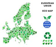 Vector Eco Green Collage European Union Map. Ecology European Union map collage of herbal leaves in green color tints. Ecological environment vector concept stock illustration